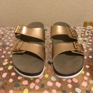 Madden girl rose gold sandals.